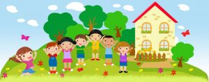 Obrazek przedstawiający przedszkole i stojące obok dzieci
